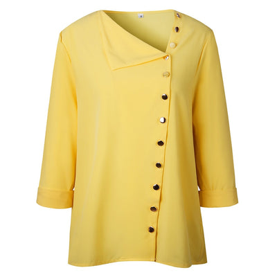 Faylisvow Long Sleeve Skew Collar Chiffon Blouse Irregular Side Button Womens Tops And Blouses Office Ladies Female Yellow Shirt