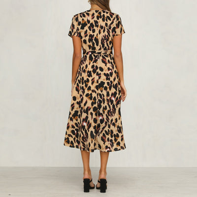Feitong Womens Leopard Print Boho Maxi Dress Ladies Holiday Long Short Sleeve Dress