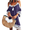 Female Spaghetti Strap Boho Dress Plus Size 5XL Summer Loose Beach Sundress Backless Short Sleeve Tassel Women Dresses GV130