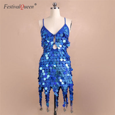 FestivalQueen Women Glitter Sequins Tassel Dress Backless Nightclub Singer Stage Show Costumes Sexy Knee Length Dresses