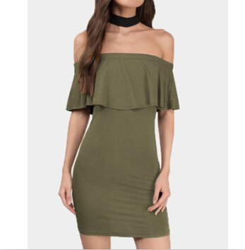 Flap Ruffles Off Shoulder Mini Dress Summer Sexy Strapless Bodycon Dress Ladies Fashion Slim Backless Dresses Women Vestido