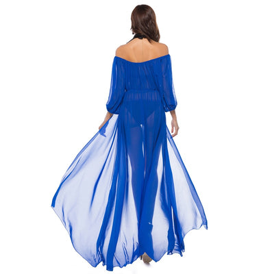 Floor Length summer sundress long sleeve off shoulder women see through beach maxi split Chiffon dress sexy boho chic robes