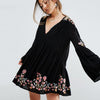 Floral Embroidery A-line mini dresses spring rayon v-neck flare long sleeve boho chic dresses Casual Hippie dress women