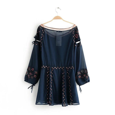 Floral Embroidery Mini Dress Mesh Sheer With Lining Tie In Fronts Hollow Out Long Sleeve Sexy Hippie Chic Party Dresses Women