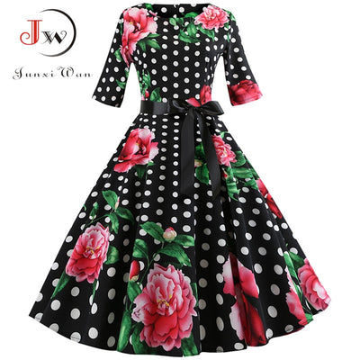 Floral Print Vintage Dress Women Long Sleeve Elegant Party Dress Autumn Winter Female Casual A-Line Dress Tunic Plus Size