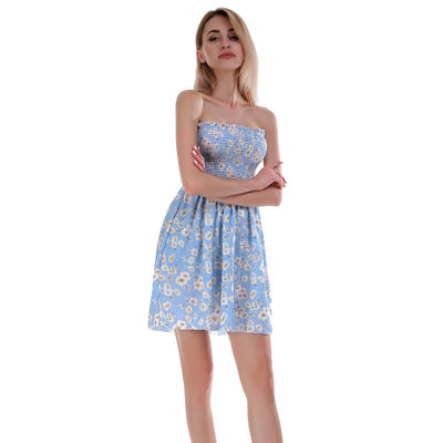 Floral Printed Tube Summer Strapless Dress Wrapped Chest Elastic Sexy Pleated Mini Dresses Women Stylish Sundress