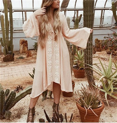 Florals Embroidery Mexican Boho Dress Bohemian People Loose V-Neck Midi Dress Hippie Chic Clothing Vestidos De Festa H0240