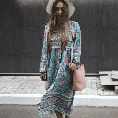 Folk Town Bohemian Dress V Neck Gypsy Floral Cotton Dress Ethnic Women Fable Vestidos Maxi Hippie Boho Kombi Folk Long Dress New