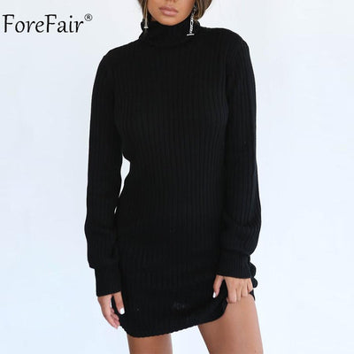 d5698f838f Forefair Autumn Women Knitted Sweater Dress Winter Rib High Collar Casual Dress  Ladies Sexy Long Sleeve