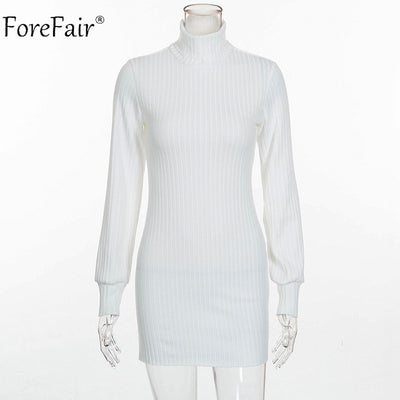 Forefair Autumn Women Knitted Sweater Dress Winter Rib High Collar Casual Dress Ladies Sexy Long Sleeve Dress Plus Size