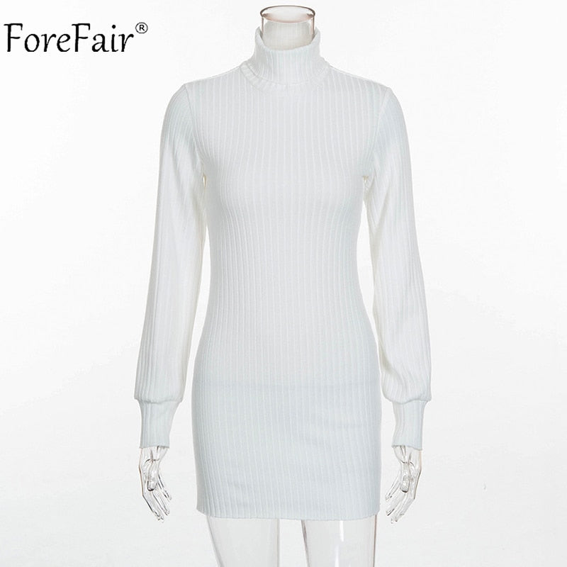 c599aa9b288 Forefair Autumn Women Knitted Sweater Dress Winter Rib High Collar Casual Dress  Ladies Sexy Long Sleeve