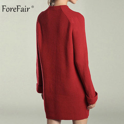 Forefair Casual Knitted Dress Women Autumn Female Long Sleeve Solid Sweater Dress Winter Ladies Straight Dress