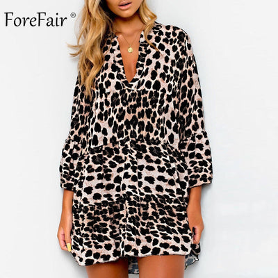 Forefair Large Sizes Snake Animal Print Dress Women Vintage Elegant Plus Size Ruffle V Neck Leopard Loose Dress Winter
