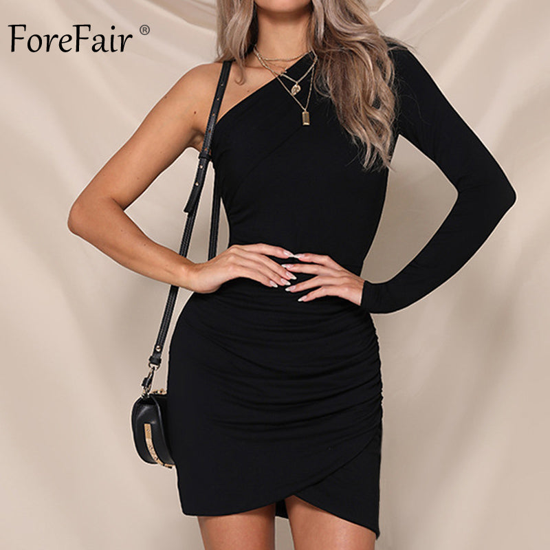 7cd95e0145d Forefair One Shoulder Sexy Bodycon Dress Women Autumn 2018 Long Sleeve  Ruched Club Dress Winter Ladies Party Dress