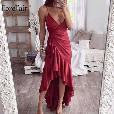 Forefair Party Club Long Dress Sexy Red Black Green Backless Ruffle Tunic Wrap Midi Satin Slip Off Shoulder Summer Dress Women