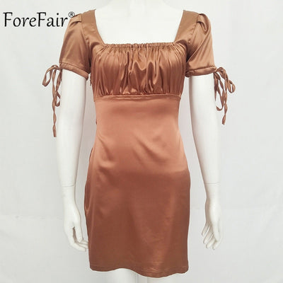 Forefair Puff Sleeve Ruched Dress Women Summer Square Collar Vintage Satin Dress Autumn Ladies Party Sexy Dress