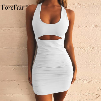 Forefair Women Club Dress Bandage Cut Out Sexy Mini Ruched Backless Lace Up Off Shoulder Bodycon Black Red Party Dress Summer