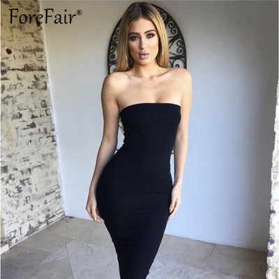 Forefair Women Summer Dress Sleeveless Sexy Dress White Black Backless Stretch Midi Slim Bodycon Party Dresses Vestidos