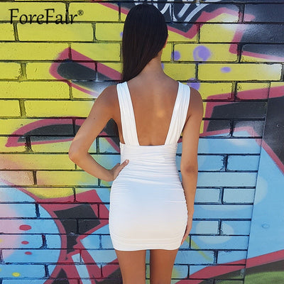 Forefair Womens Sexy Clubwear Bandage Dress Deep V Neck Backless Tank Summer Dress Stretch Bodycon Mini Party Dresses