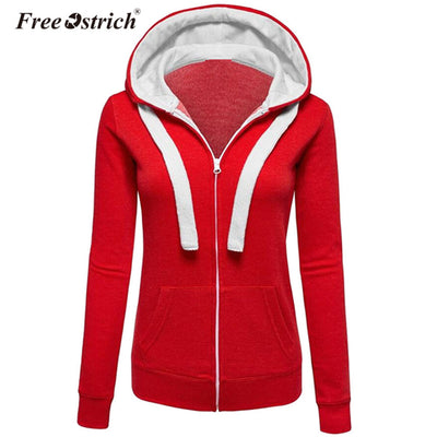 Free Ostrich Hoodies Warm Winter Sweatshirt Women Pocket Zipper Long Sleeve Slim Plus Size harajuku sudadera mujer S40