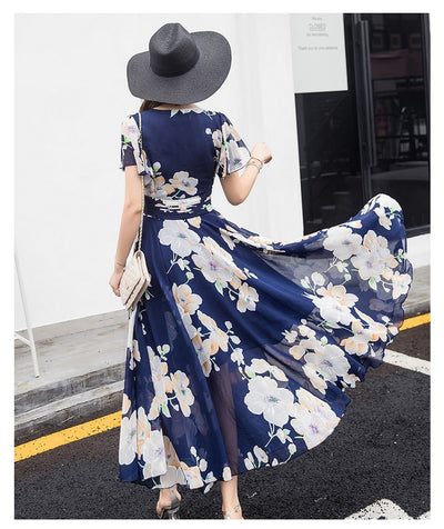 Bohemian Style S-5XL Summer New Arrival Collect Waist Flare Sleeve Flower Printed Woman Chiffon Long Dress