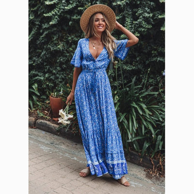 Frieda Boho Maxi Dress Women 2019 Summer Elegant Short Sleeve V neck Waist Tie Chic Dress Floral Print Behemian Beach Long Dress