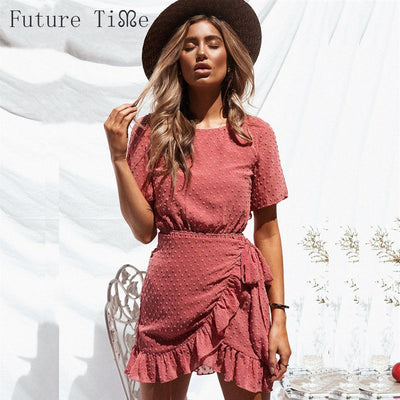 Future Time Sexy Summer Dress Women Backless Ruffles Beach Dress Sexy Women Floral Short Sleeve Mini Dress Female A-Line Dress N