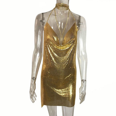 GACVGA Sexy Diamond Halter Metal Party Dresses Gold Silver Summer Dress Vesitos Backless Sequins Women Dress