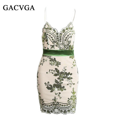 GACVGA Evening Party Elegant Sequined Backless Dress Women Sexy V Neck Bodycon Dresses Short Beach Summer Dress Mesh Vestidos