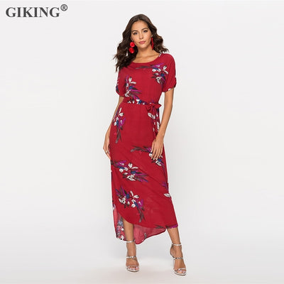 GIKING Summer Maxi Dress For Women Floral Print Short Sleeve Boho Style Party Dress Woman O-neck Holiday Long Bench Vestido