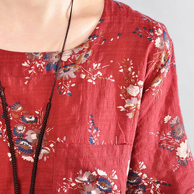 GUYUNYI Vintage Print Dress Women Cotton And Linen Casual Loose Summer Dress O-Neck Short Sleeve Red Blue CX872