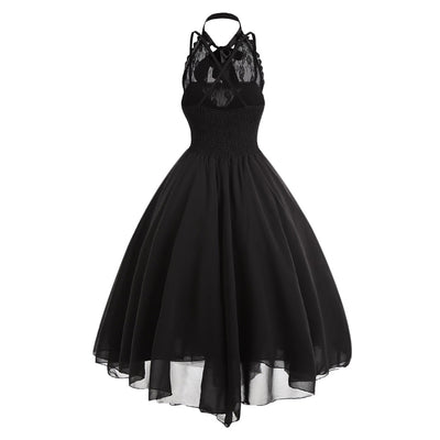 Gamiss Gothic Bow Party Dress Women Vintage Black Sleeveless Cross Back Lace Panel Corset Swing Dress Robe Vestidos Femme