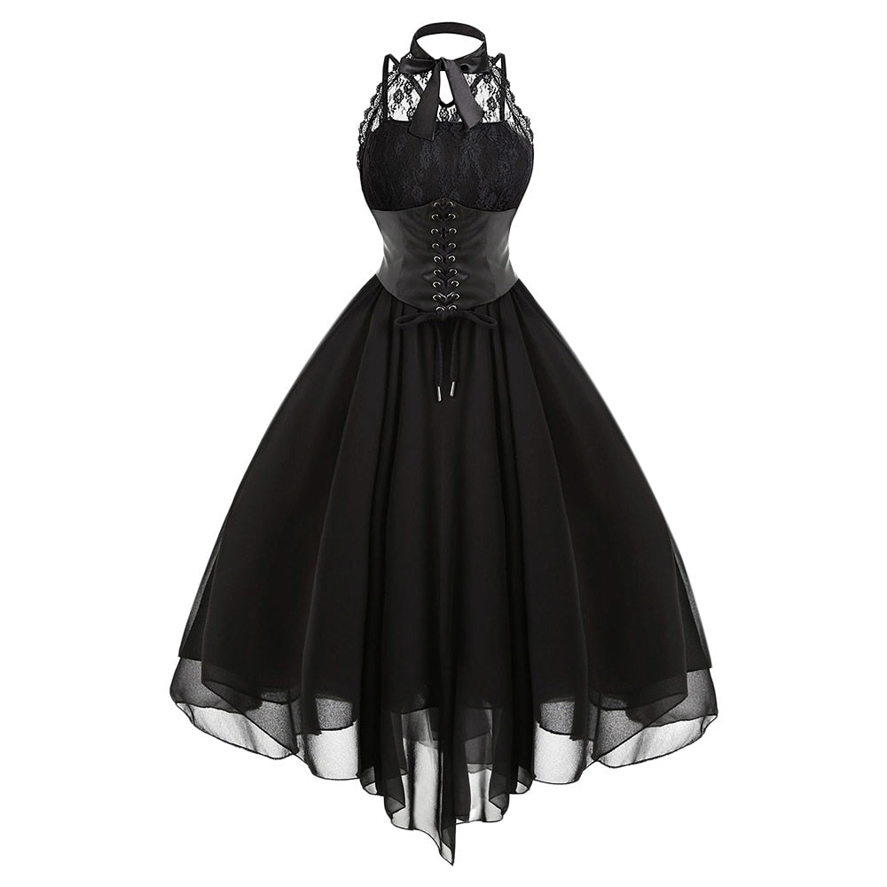 688460f7d5 Gamiss 2018 Gothic Bow Party Dress Women Vintage Black Sleeveless Cross  Back Lace Panel Corset Swing