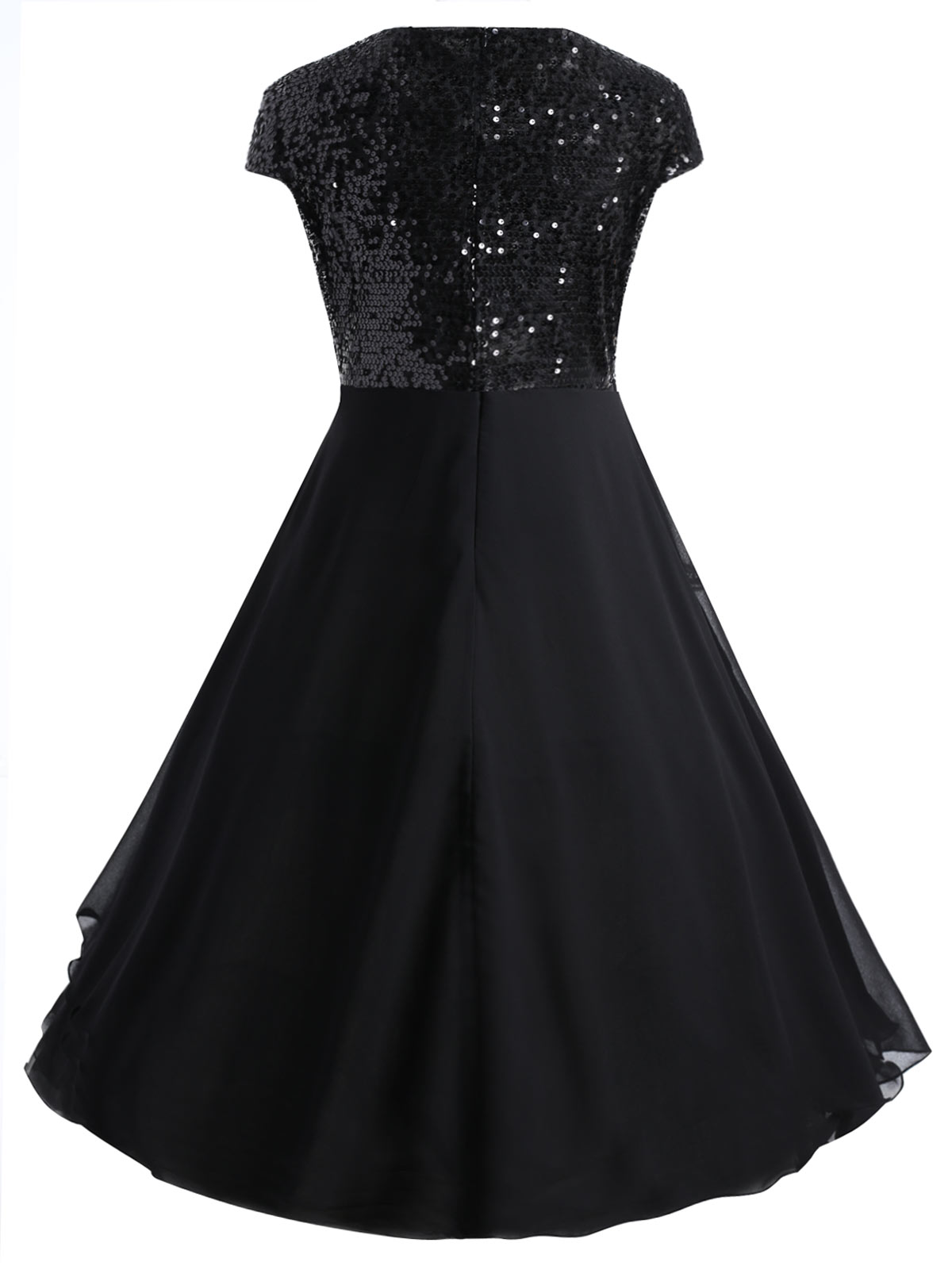a3df92f8a3 Gamiss Women Flounce Plus Size Dress Sequin Sparkly Dresses Cocktail Short  Sleeves Party Ball Gown Knee-Length Female Vestidos