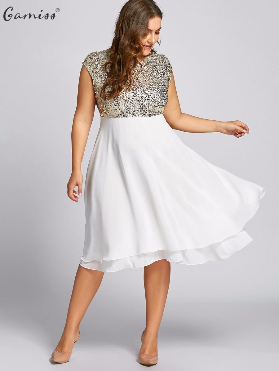 55b46abb35e Gamiss Women Flounce Plus Size Dress Sequin Sparkly Dresses Cocktail Short  Sleeves Party Ball Gown Knee
