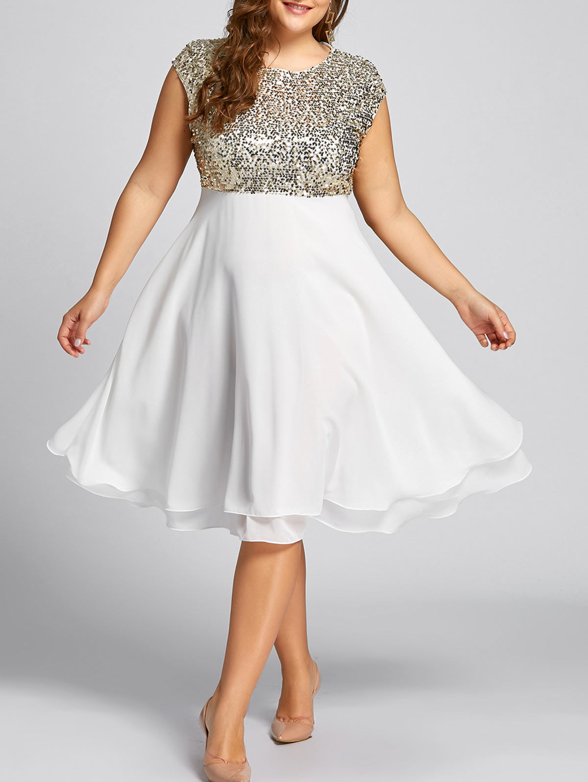 dc06e2f99f9c2 Gamiss Women Flounce Plus Size Dress Sequin Sparkly Dresses Cocktail Short  Sleeves Party Ball Gown Knee-Length Female Vestidos