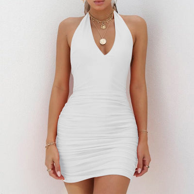 Gentillove Sexy Sleeveless Halter Backless Bodycon Dress Women Party Night Summer Dresses Solid Pleated Bandage Mini Dress