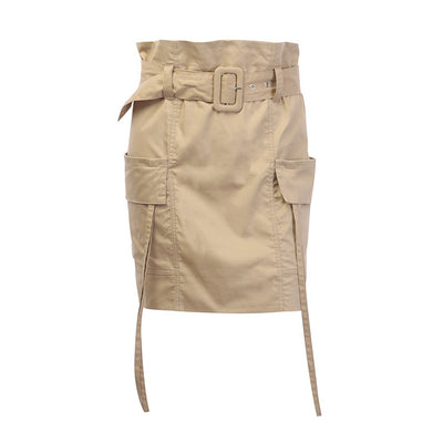 Gonne Donna Vintage Skirt High Waist New Belt Spudnice Damskie Tie Rokjes Dames Multi Bag Temperament Khaki Mini Skirt
