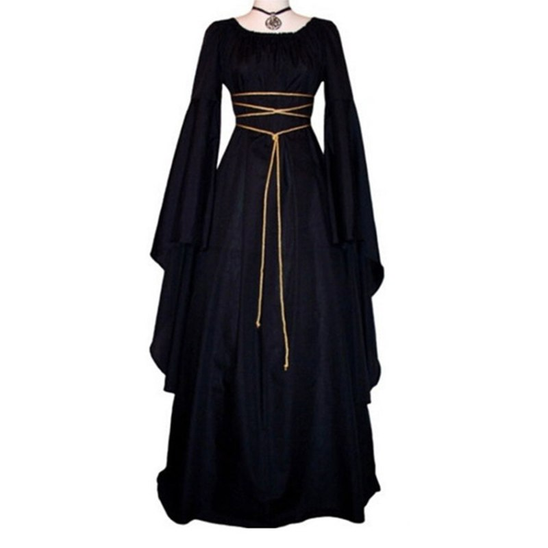2d7b6e6e1c Gothic Halloween Costume Rosetic Gown Women Dress Girls Medieval Long  Sleeve with Belt O-neck Irregular Sexy Party Dress Vintage