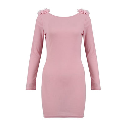 Gray Pink Appliques Floral Sexy Bodycon Mini Club Elegant Dress Long Sleeve O Neck Backless Dresses Woman Clothes Party Night