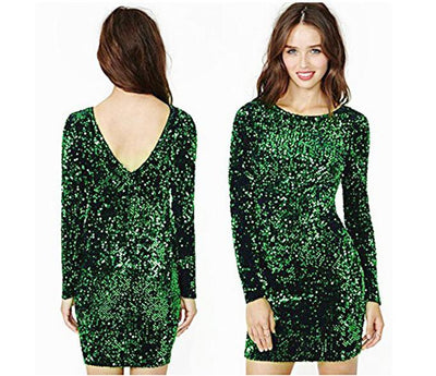 Green Sequin Dress Women Sexy Club Dresses Slim Fit Backless Bodycon Party Nightclub Mini Vintage Dress vestido lentejuelas