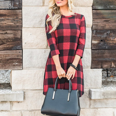 Grid Print Swing Dress Women Clothes A Line Office Ladies Work Dresses 3/4 Sleeve Shift Autumn Mini Dress 40SP28