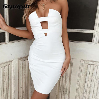 Gtpdpllt Summer Dress Women Sexy Strapless Bodycon Sheath Dresses Backless Mini Dress Party vestidos Bandage Backless