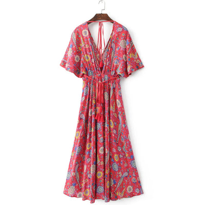Gypsy Dancer Dress V Neck Batwing Sleeve Elastic Waist Floral Print Party Vestidos Maxi Hippie Long Dress Summer Beach Dress