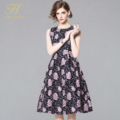 H Han Queen Spring Sleeveless Jacquard Dress Casual Party Slim O-neck Floral Printing Dresses Women A-line Vintage Vestidos