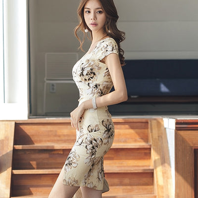 H Han Queen Sexy High Waist Split Print Dress Women New V-neck Fitted Sheath Dresses Party Club Fitted Criss-cross Vestidos