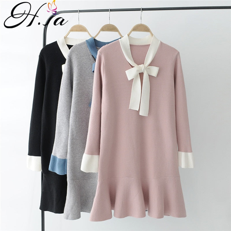 4a4670286c7db H.SA Women Sweater Dress Autumn Winter Long Pull Jumpers Mermaid Knitted  Pullover Sweaters Bow Loose Cute Womens Jumpers 2019