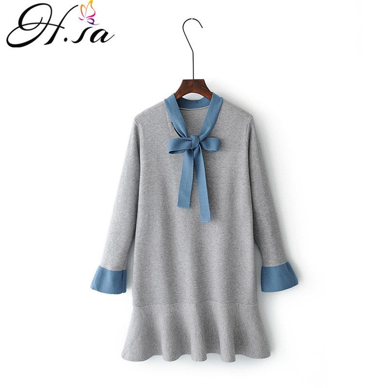 632669de86e H.SA Women Sweater Dress Autumn Winter Long Pull Jumpers Mermaid Knitted  Pullover Sweaters Bow