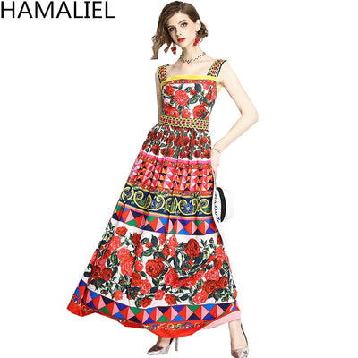 HAMALIEL Runway Summer Spaghetti Strap Printing Florwer Rose Long Dress Designer Women Backless Sexy Strapless Maxi Dress