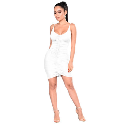 HAOYUAN Bodycon Bandage Dress Deep-V Neck Women Robe Sexy Party Dress Ruched Club Backless Short Mini Boho Beach Dresses